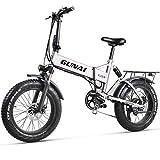 GUNAI Bicicleta de Nieve eléctrica, Bicicleta de montaña Plegable de 20 Pulgadas y 500 W con batería de Litio de 48 V y 12,8 Ah con Asiento Trasero y Freno de Disco (Plateado)