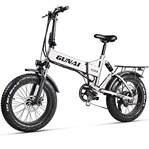 Electric Bikes GUNAI 20 inch Electric Snow Bike 500W Folding Mountain Bike with Rear Seat and Disc Brake with 48V 12.8AH Lithium Battery (Silver)
