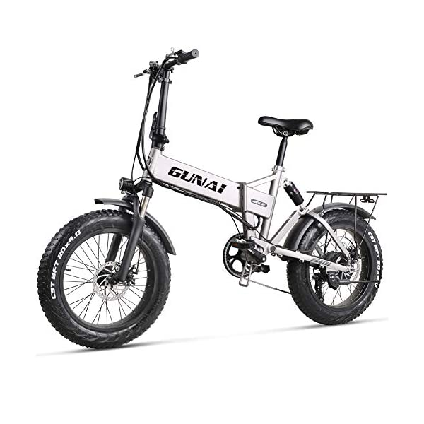 Electric Bikes GUNAI 20 inch Electric Snow Bike 500W Folding Mountain Bike with Rear Seat and Disc Brake with 48V 12.8AH Lithium Battery (Silver) [tag]