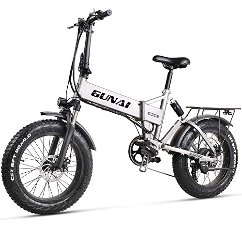 GUNAI Electric Bike 20 inch 500W Folding Mountain Bike with 48V 12.8AH Lithium Battery with Rear Seat and Disc Brake (Silver)