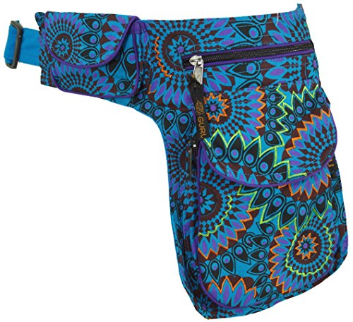 GURU SHOP Stoff Sidebag & Gürteltasche, Goa Gürteltasche - Türkis, Herren/Damen, Baumwolle, Size:One Size, 27x20 cm, Festival- Bauchtasche Hippie