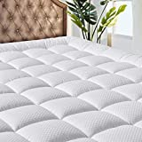 MATBEBY Bedding Quilted Fitted Queen Mattress Pad Cooling Breathable Fluffy Soft Mattress Pad Stretches up to 21 Inch Deep, Queen Size, White, Mattress Topper Mattress Protector