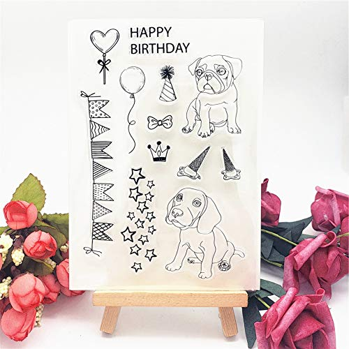 WooYangFun Craft 1pcs Happy Birthday Dog Puppy Banner Clear Stamp for Card Making Decoration and Scrapbooking 11x15cm