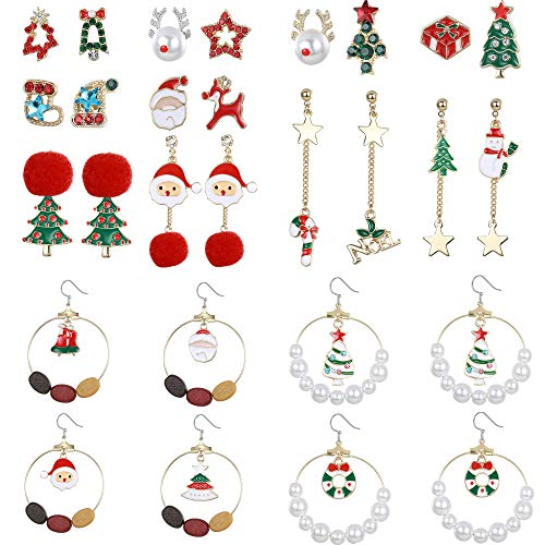 YADOCA 14 pares Set pendientes Navideños para Mujer Aretes de Navidad para Niñas Niños Christmas Drop Dangle...