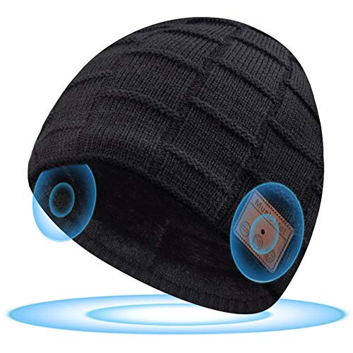 Bluetooth Beanie for Men Bluetooth Hat,Beanie Headphones,Unique Tech Gifts for Men Husband Teenagers Boys,Dad Gifts Boyfriend.Runners Gifts for Men Who Have Everything. Presents for Men Black