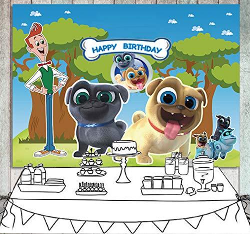 Daniu Cartoon Puppy Dog Pals Telón de Fondo Chicos Chica Fiesta de cumpleaños Fotografía Fondo Pastel Mesa Decoración Banner Baby Shower Photo Studio Stand de Accesorios 7X5FT
