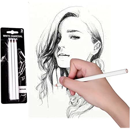 3pcs White Charcoal Pencils for Sketch Carbon Pens Sketch Tools Art Tools for Professionals Kids Beginners Artists Sketching Coloring