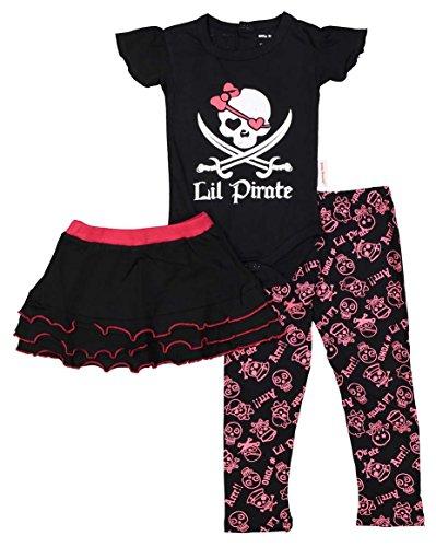 SILLY SOULS Lil 'Pirate Grenouillère bébé Fille, Jupe et Legging Rose Noir Blanc - Rose - 24 Mois