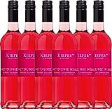 VINELLO 6er Weinpaket Roséwein - Schmetterlinge im Bauch Rosé 2020 - Weingut Kiefer mit einem VINELLO.weinausgießer | halbtrockener Rosé | deutscher Sommerwein aus der Pfalz | 6 x 0,75 Liter
