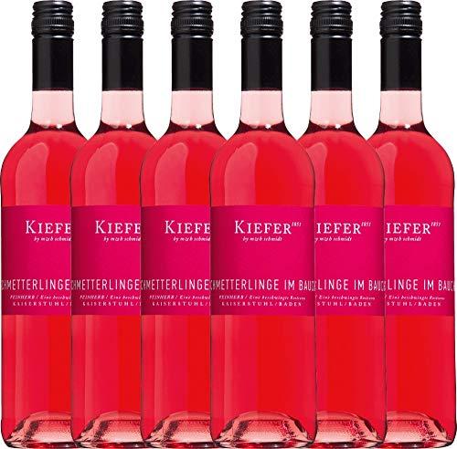 VINELLO 6er Weinpaket Roséwein - Schmetterlinge im Bauch Rosé 2020 - Weingut Kiefer mit Weinausgießer | halbtrockener Rosé | deutscher Sommerwein aus der Pfalz | 6 x 0,75 Liter
