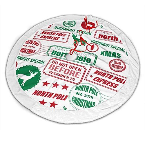 Lesif - Falda redonda para árbol de Navidad, diseño de reno de polo norte, color rojo y verde, para decoración de fiestas de Navidad, decoración de interiores y exteriores