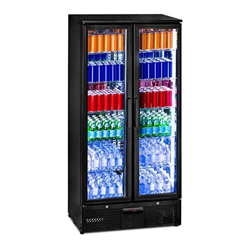 Royal Catering RCGK-458C Getränkekühlschrank Flaschenkühlschrank mit Glastür Standkühlschrank (458 L, 2–10 °C, abschließbare Türen mit Doppelverglasung, LED Beleuchtung, Schwarz)
