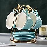 DUJUST Tazas de té y platillos Conjunto de 4 (235 ml), color de caramelo con adornos dorados, tazas de café con soporte de metal, conjunto de fiesta de té de porcelana de estilo simple - Verde