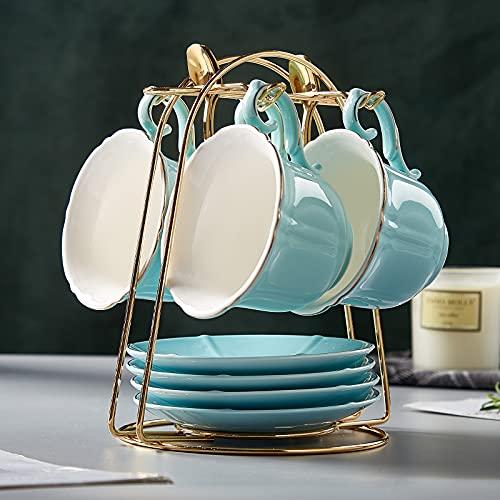DUJUST, Set da 4 Tazze da tè e piattini (235 ml), Colore Caramella con Finiture Dorate, Tazze da caffè con Supporto in Metallo, Set da tè in Porcellana Stile Semplice - Verde