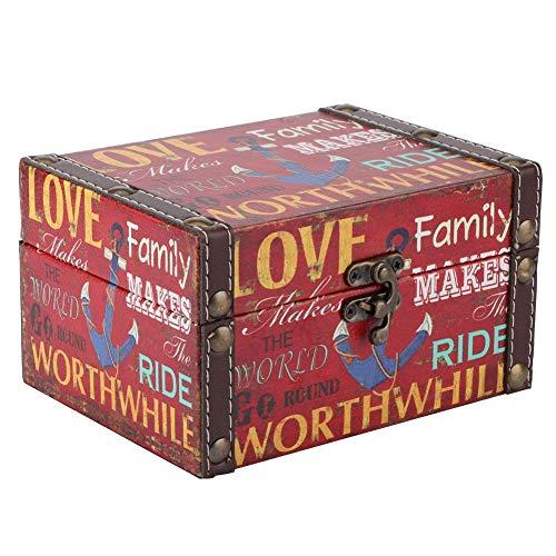 Atyhao Caja de Madera Vintage, Caja de Cofre del Tesoro de Estilo Europeo, Organizador de joyería, Accesorio fotográfico, Adornos de Escritorio(Caja de almacenaje)
