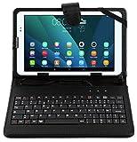 Duragadget - Funda de piel con teclado AZERTY para Acer Iconia W3-810, W4-820, A1-810, A1-811, A1-830 tabletas de 8' - Lápiz capacitivo + gamuza de limpieza