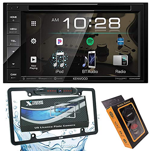 Kenwood DDX26BT Double DIN SiriusXM Ready Bluetooth in-Dash DVD/CD/AM/FM Car Stereo Receiver w/ 6.2' Touchscreen + XV License Backup Camera + Magnet Phone Holder