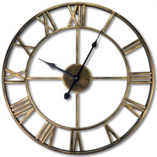 Reloj de pared antiguo metálico mano 3D de la vendimia Diseño Sin Ruido Decoración de Navidad del reloj de pared silencioso del reloj de la vendimia for Home Office Salón 80 cm, 80 cm de oro antiguo,