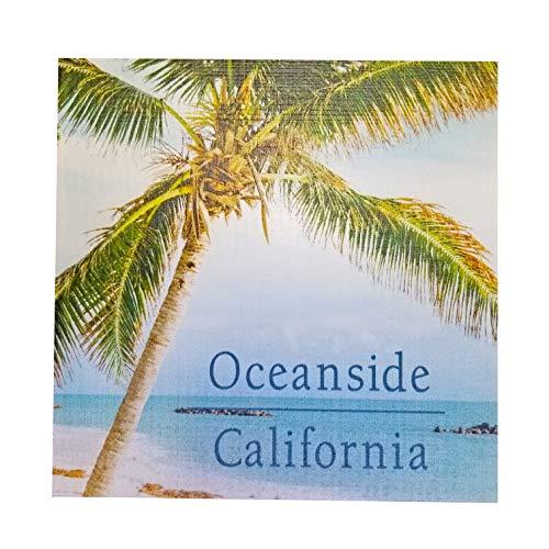 "XYZ Boat Supplies Palm Tree Oceanside California - Wood Block Sign – 5.25"" x 5.25"" x 1"" - USA Made"