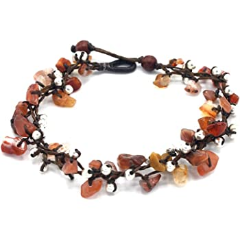 Mary Grace Design MGD Women Handmade Jewelry JB-0382A 25 cm w// 1 Inch Extend 3-Strand Anklet Wrap Anklet Orange Agate Bead and Silver Bead Anklet