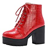 FitWee Casual Mujer Botines Chunky Heels Cremallera Combat Booties Plataforma Fiesta Invierno Gothic Boots Lace up Cosplay Shoes Red Talla 38 Asian