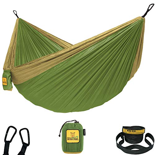 Wise Owl Outfitters Hammock for Camping Single & Double Hammocks Gear for The Outdoors Backpacking Survival or Travel - Portable Lightweight Parachute Nylon DO Green & Khaki