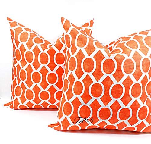 Juego de dos fundas de almohada naranja quemado naranja y blanco quemado naranja funda de almohada funda de almohada funda de almohada naranja funda de almohada funda de almohada funda de almohada a elegir un tamaño