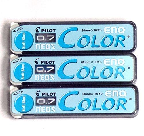 Pilot Color Mechanical Pencil Lead Eno, 0.7mm, Soft Blue, 10 Lead ×3 Pack/total 30 Leads (Japan Import) [Komainu-Dou Original Package]