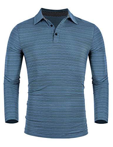 iWoo Poloshirt Herren Langarm Polo Schnell Trocknend Atmungsaktiv Regular Fit Polo-Hemd(Navy blau,XXL)