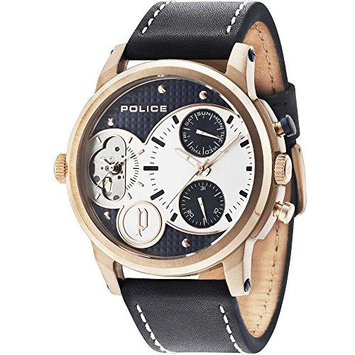 Police Herren Multi Zifferblatt Quarz Uhr mit Leder Armband PL14376JSR.03
