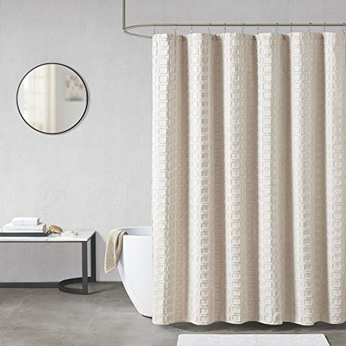 """Madison Park Metro Bathroom Shower, Textured Woven Clipped Design Modern Mid-Century Privacy Bath Fabric Curtains, 72""""x72"""", Sand"""