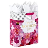 Hallmark 15' Extra Large Mother's Day Gift Bag with Tissue Paper (Bright Pink with Black Dots and Gold Foil)
