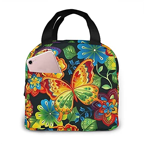 Butterfly Portable Insulated Lunch Bag Woman Waterproof Tote Bags Small Handbag,Shopping Office/School/Picnic/Travel/Camping