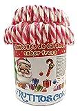 FRUTITOSCOM - Bastones de caramelo de Navidad - bote 72 unidades (Rojo y blanco)
