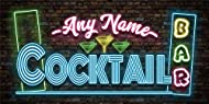 Personalised Neon Bar Sign - Metal Signs Tin Wall Hanging Plaques - Cocktail Light Effect Accessorie...