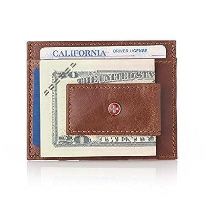 Alpine Swiss RFID Magnet Money Clip Wallet Brown