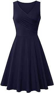 Ulanda Women V Neck Sleeveless Solid Color Summer A Line Casual Dress