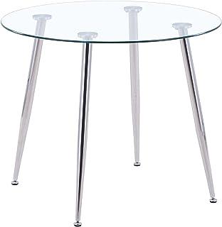 GOLDFAN Table à Manger en Verre Moderne Ronde Table en Verre avec Pieds en Métal 80cm Table de Cuisine Salle à Manger Salo...