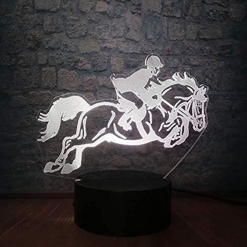 Nachtlicht Kinder 3D Lampe 3D LED 3D Illusion Reiten Reitpferd 7 Farben Wechsel Tischlampe für Heimtextilien Baby Schlafdekor Junge Sport Geschenke