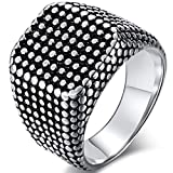Jude Jewelers Retro Vintage Stainless Steel Classical Siget Biker Cocktail Party Ring (Grey, 10)