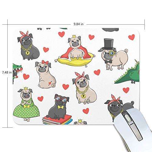 Alfombrilla de ratón rectangular de goma antideslizante para juegos, diseño de perros divertidos y animales, 7.9x9.5 pulgadas