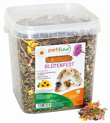 petifool Blütenfest 380g - Ergänzungsfutter für Nager - natürliches Nagerfutter für Kaninchen, Meerschweinchen, Hamster, Chinchilla & mehr - ohne künstliche Zusätze - 100% Natur - artgerechtes Futter