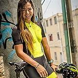 XCHJY Manga Corta Ciclismo Jersey Traje de Medias de Las Mujeres de Gel 9d Ciclismo Jersey Ciclismo Traje Mono del Verano (Color : Yellow, Size : S)