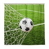BIGJOKE Duschvorhang, Fußball-Design, wasserfest, Polyester, 12 Haken, 183 x 183 cm, Heimdekoration