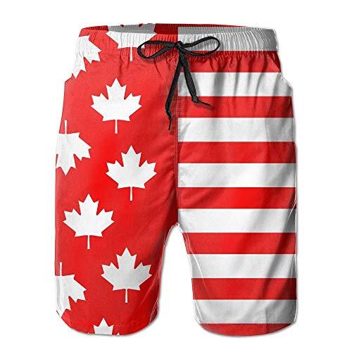 yting Canada Flag Maple Herren Summer Beach Schnelltrocknende Badehose Boardshorts Cargohose, Größe XL