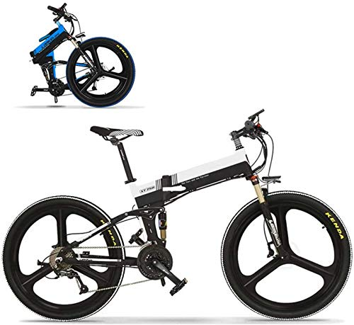 RDJM Bici electrica, 26'Bicicletas eléctricas for Adultos, Bicicleta de montaña Plegable Bicicleta eléctrica 350W Motor sin escobillas 48V portátil for al Aire Libre, Negro + Blanco (Color : Yellow)