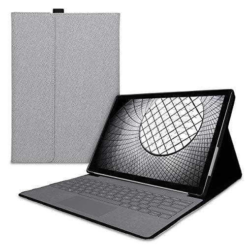 kwmobile Hülle kompatibel mit Microsoft Surface Pro 7 - Type Cover kompatibel - Stoff Tablet Cover in Grau
