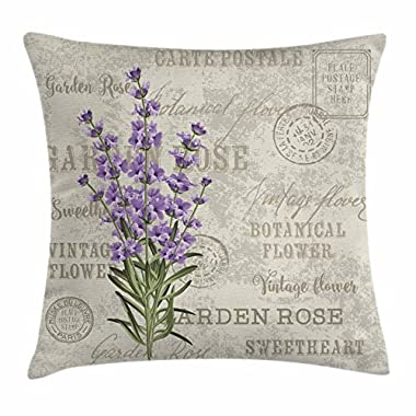 Ambesonne Lavender Throw Pillow Cushion Cover, Vintage Postcard Composition with Grunge Display and Flowers, Decorative Square Accent Pillow Case, 16 X 16 Inches, Lavender Reseda Green Beige