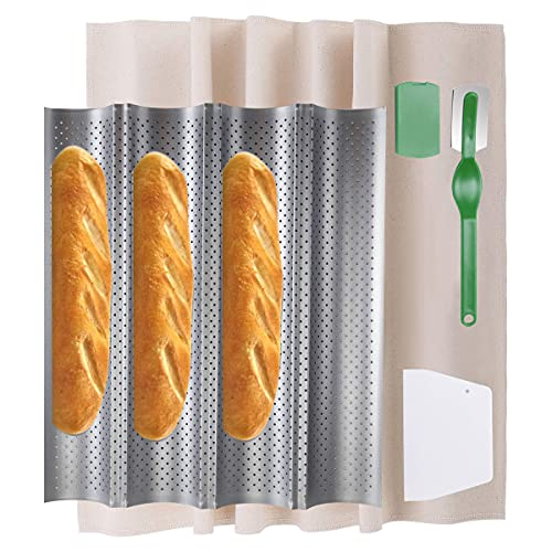 Sourdough French Bread Baguette Pan 15' x 13' Nonstick Perforated 4 Wave Loaves Bake Mold, 4 in1 Carbon Steel Silver Oven Toaster Baking Loaf Tray, Dough Proofing Couche, Bread Lame & Dough Scrapers
