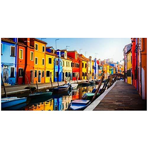 NOBRAND Lienzo Arte de la Pared Paisaje Urbano Moderno Barcos Carteles e Impresiones Venice Water City View Picture for Living Room Decor Painting 60x120cm (23.6x47.2 Inch) Sin Marco